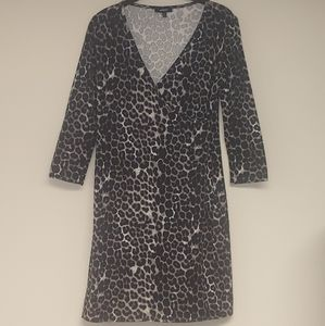 Express Black Leopard Print Wrap Dress